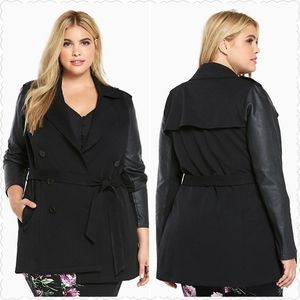 TORRID FAUX LEATHER SLEEVES TRENCH COAT 3 (3X)